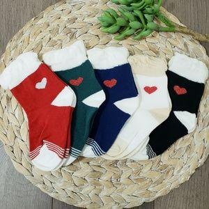 Brand New Toddler Girl Ruffled heart socks 5pairs